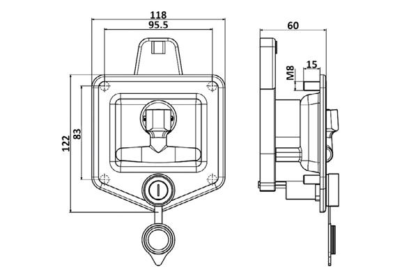 قفل جعبه ابزار تریلی پلاستیکی فوکس