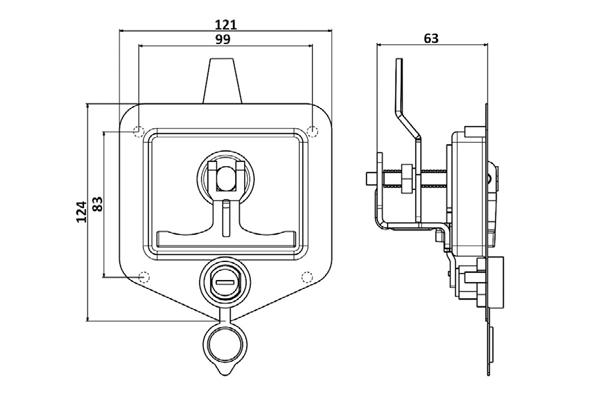 قفل جعبه ابزار تریلی فلزی فوکس